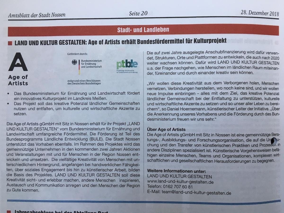 Zum ersten Mal im Amtsblatt der Stadt Nossen